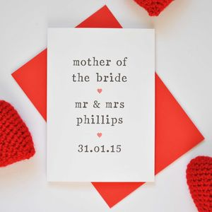 Personalised Parents Of The Bride Or Groom Card