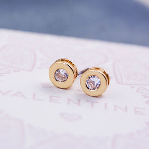 Small Round Solitaire Earrings - earrings