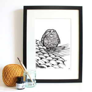 Baby Owl Fine Art Giclée Print - drawings & illustrations