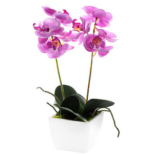 Coloured Silk Orchid Pot Plant In White Container - room decorations