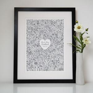 Personalised Floral Heart Wedding Print