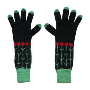 Long Knitted Lambswool Flower Gloves