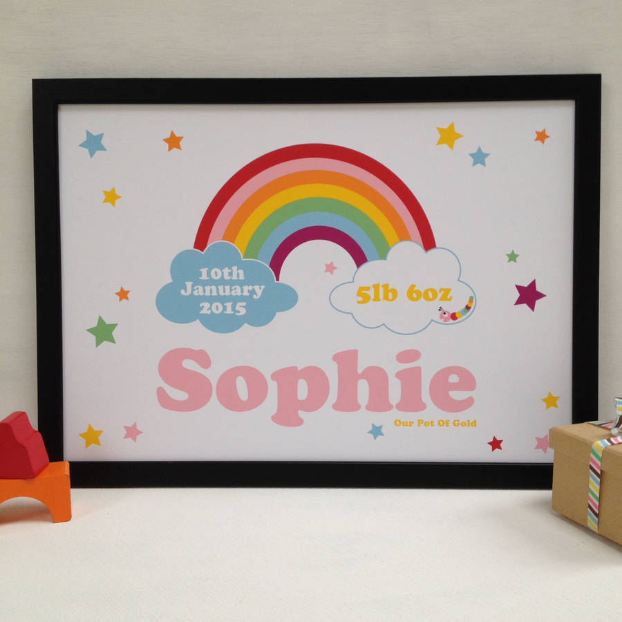 Rainbow New Baby Personalised Name Print