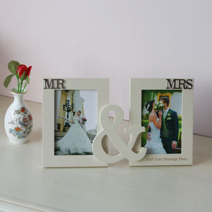 Personalised Mr And Mrs Photo Frame In Cream