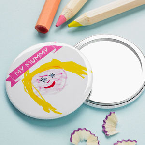 Child's Hand Drawn Pocket Mirror - personalised