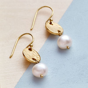 Gold Coin And Pearl Earrings - gifts for her