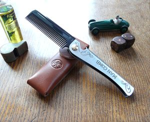 Limited Edition Man Comb 'Black' With Leather Case - hair care