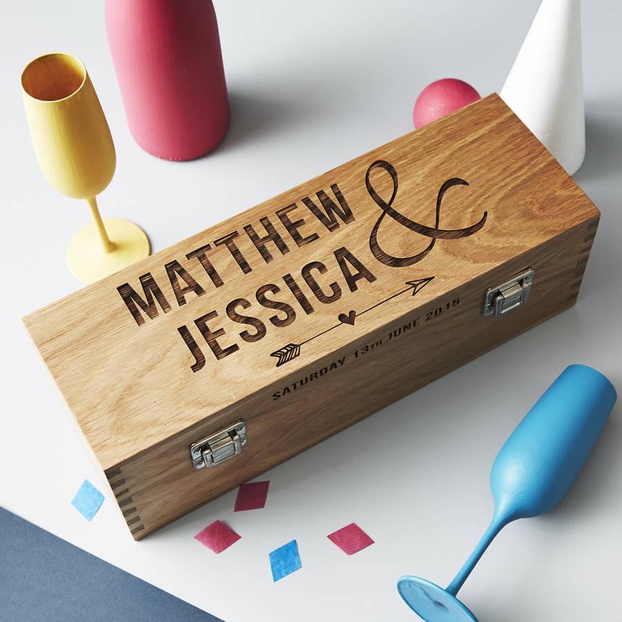 personalised wedding oak bottle box by sophia victoria joy ...