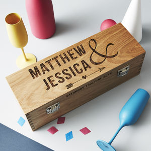 Personalised Wedding Oak Bottle Box - wine racks & storage