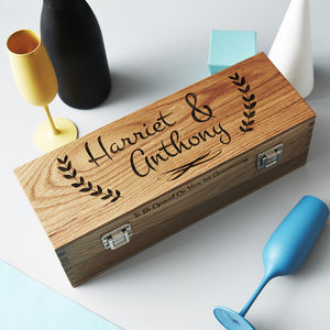 Personalised Couple's Oak Bottle Box - ribbon & wrap