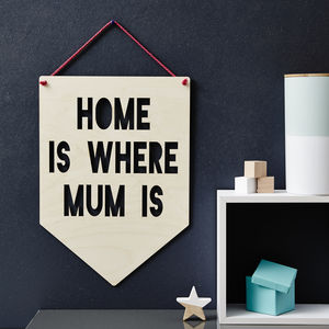 Personalised Hanging Wooden Flag For Mum