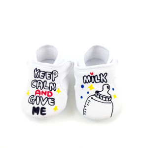 Personalised 'Keep Calm And Give Me Milk' Velcro Shoes