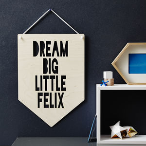 Personalised 'Dream Big' Hanging Wooden Flag - living room