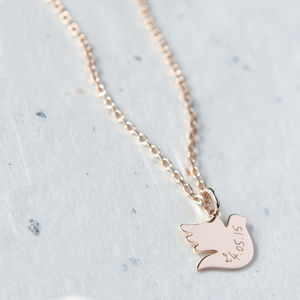 Personalised Dove Charm Chain Necklace