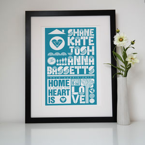 Personalised Family Names Print - pictures & prints for children