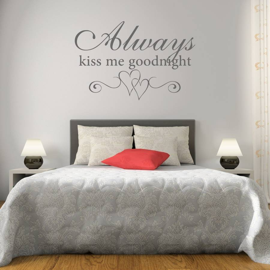 Kiss me goodnight bedroom wall sticker by mirrorin for Bedroom wall images
