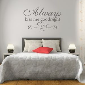 Kiss Me Goodnight Bedroom Wall Sticker - prints & art sale