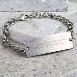 Men's Personalised Silver ID Tag Bracelet