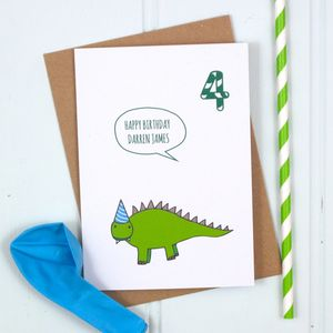 Personalised Dinosaur Birthday Card - special age birthday cards
