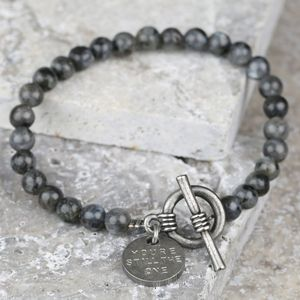 Men's Personalised Obsidian Glass Bead Toggle Bracelet
