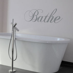 Swirly 'Bathe' Wall Sticker - bedroom