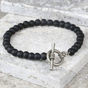 Men's Matt Black Bead Toggle Bracelet - stocking fillers under £15