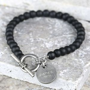 Men's Personalised Matt Black Bead Toggle Bracelet