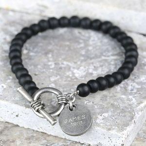 Men's Personalised Matt Black Bead Toggle Bracelet - bracelets