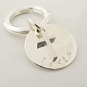 Boys Sterling Silver Christening Keyring