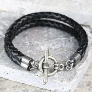 Men's Braided Leather Wrap Effect Bracelet