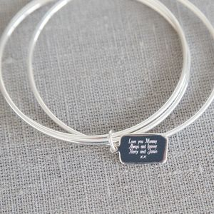 Sterling Silver Personalised Tag Bangles - birthday gifts