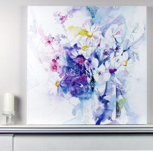 Limited Edition White Floral Fine Art Watercolour Print - modern & abstract