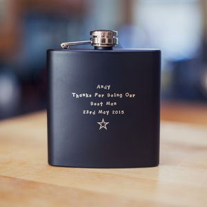 Personalised Black 6oz Hip Flask - best man & usher gifts