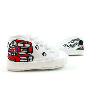 Personalised Double Decker Bus Baby Canvas Shoes