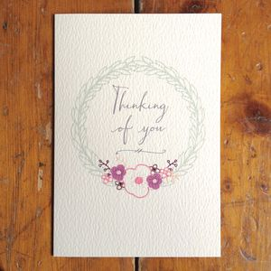Thinking Of You Anemone Circle Card - sympathy & sorry cards