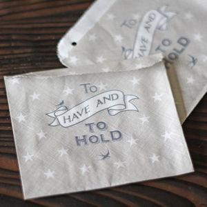 To Have And To Hold Grey Wedding Favour Bags X 40