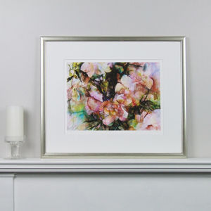 Limited Edition Floral Pink Fine Art Watercolour Print - modern & abstract