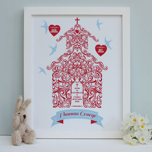 Personalised Christening With Godparents Framed Print - children's pictures & paintings