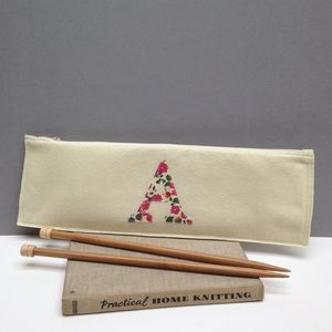 Liberty Print Applique Felt Knitting Needle Case