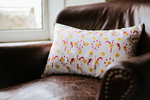 Fairground Carousel Cushion, Yellow Stars