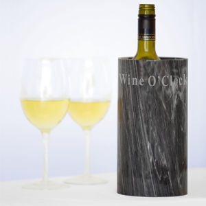 'It's Wine O' Clock' Marble Wine Cooler