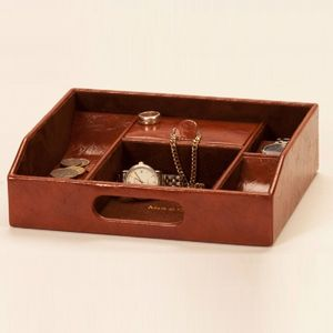 Mele And Co. Brown Leatherette Men's Organiser Tray