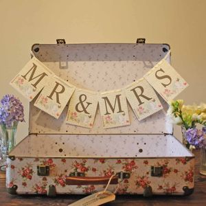 Floral Mr And Mrs Bunting Wedding Chair Signs