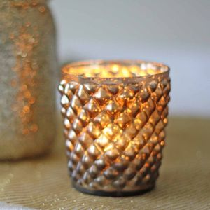 Quilted Glass Bronze Tea Light Holder - table decorations