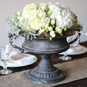 Large Grey Urn Wedding Centrepiece - table decorations