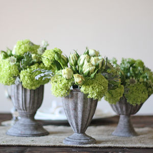 Small Grey Urn Wedding Centrepieces - vases