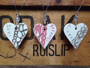 Vintage Lace 'Love', 'Cherish' Or 'Adore' Ceramic Heart - heart favours