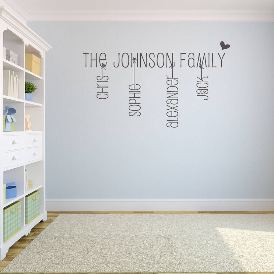 Family Name Wall Sticker By Name Art Notonthehighstreetcom   Wall Decals  Names