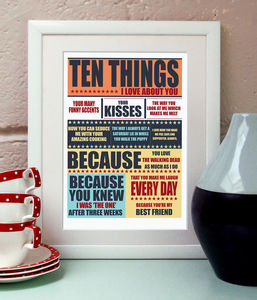 Ten Things I Love About You Print - 1st anniversary: paper