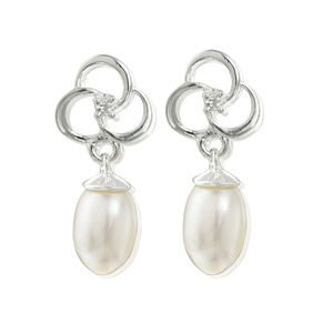 Pearl Earrings Silver Three Rings Of Love Pearl Drop